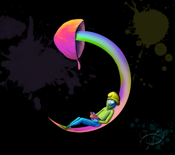 mushroom, night, gnome, psycedellic, imushroomu, photoshop, illustration