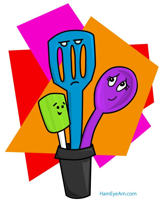 Cartoon Kitchen Tools ~ Kitchen utensils ham eye am