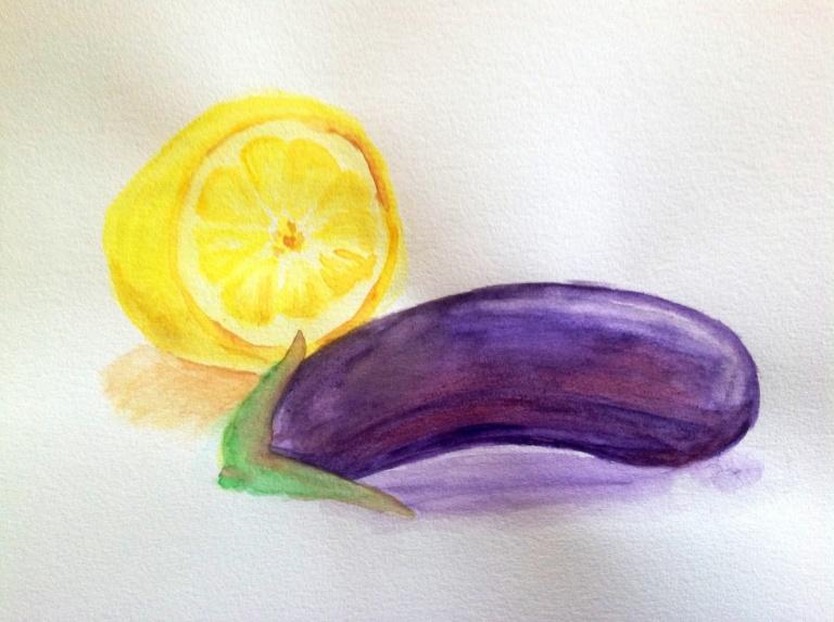 Watercolor lemon and eggplant