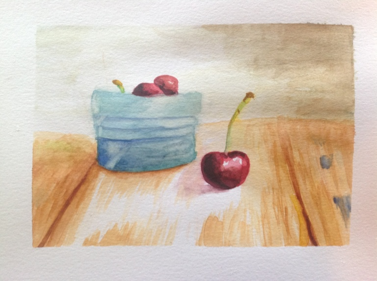Watercolor cherries on a table