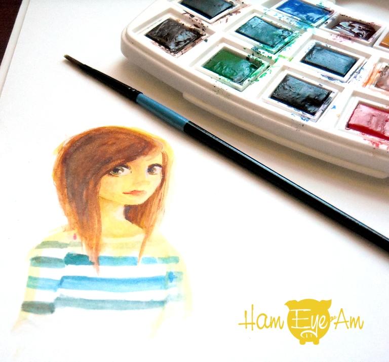 Watercolor Girl Side