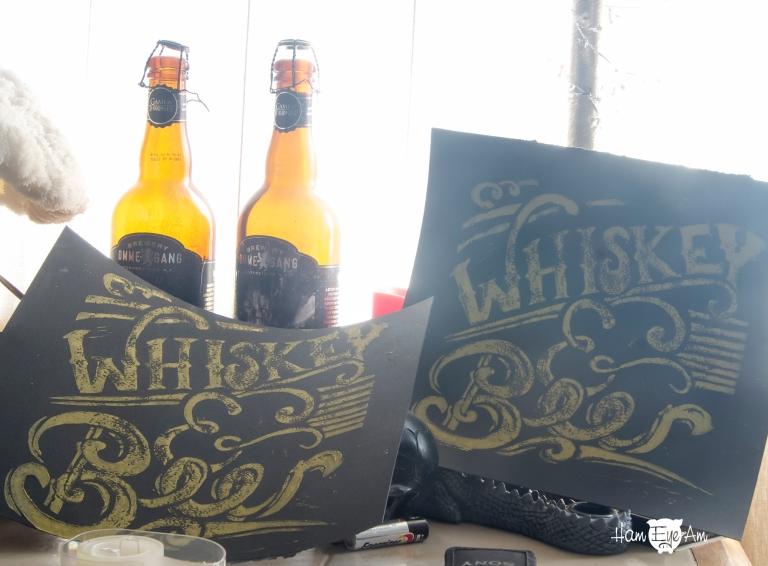 Whiskey & Beer Block Print