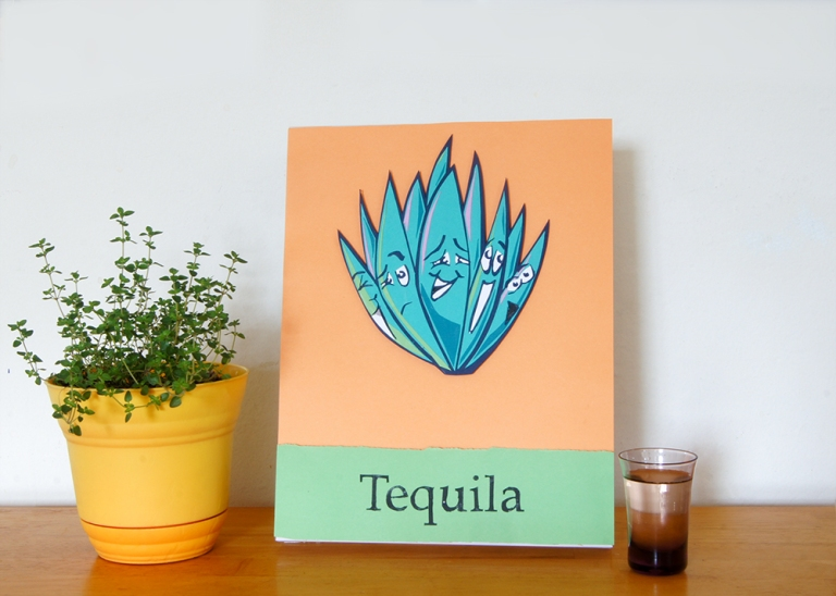 "Tequila Agave Plant Paper Art Piece 8""x11"""