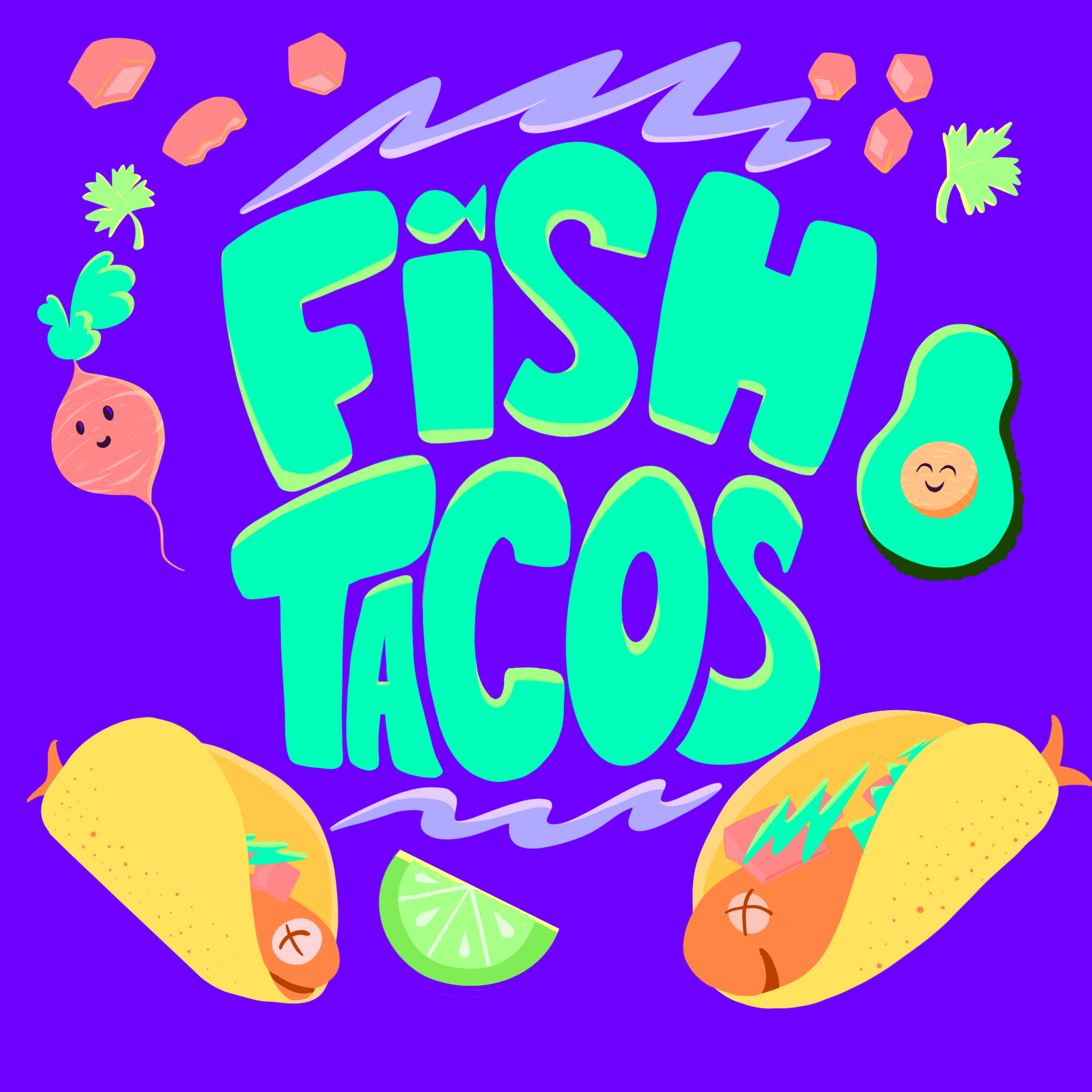 Illustration of fish tacos