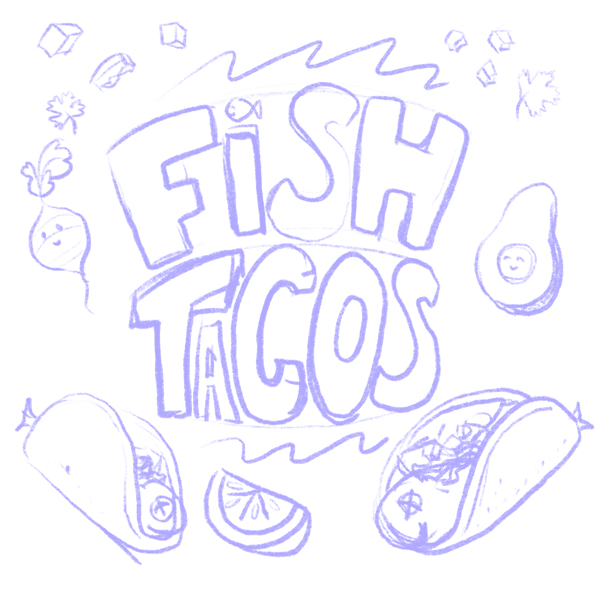 pencil drawing of fish tacos