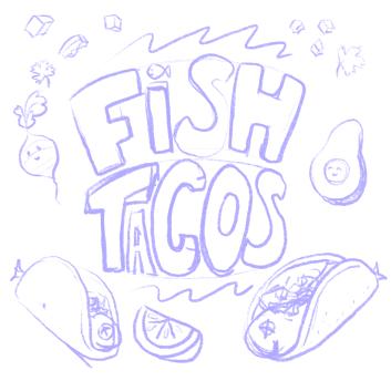 pencil drawing of fish tacos